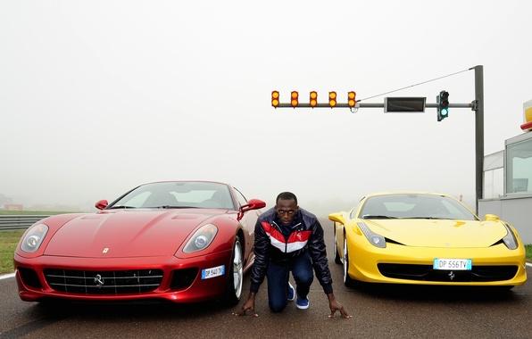 Picture yellow, red, background, Ferrari, athlete, Ferrari, male, Fiorano, 458, start, GTB, 599, runner, the front, …