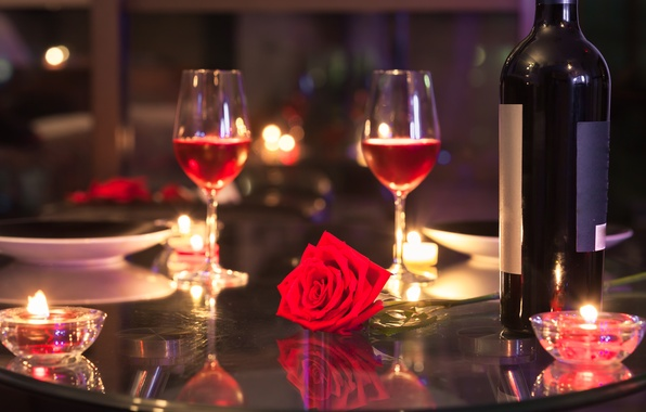 Picture love, gift, wine, roses, glasses, love, heart, romantic, Valentine's Day