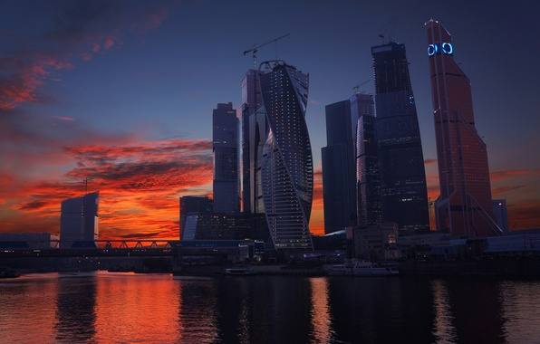 Picture Sunset, The sky, Clouds, River, Skyscrapers, Moscow, Russia, Moscow-City