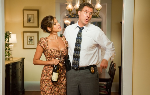Picture bottle, dress, tie, Eva Mendes, Eva Mendes, badge, police, Will Ferrell, Will Ferrell, Cops in …