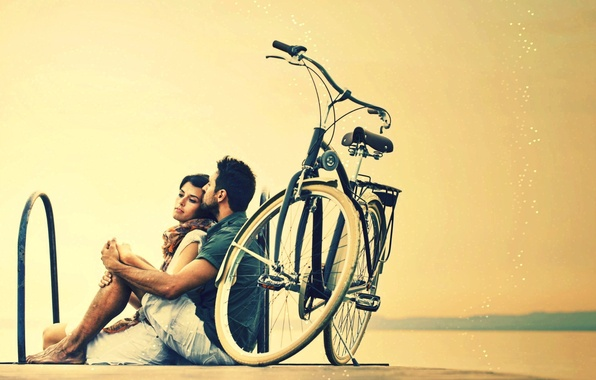 Picture girl, bike, background, stay, widescreen, Wallpaper, mood, woman, relax, pair, wallpaper, male, guy, bicycle, a …
