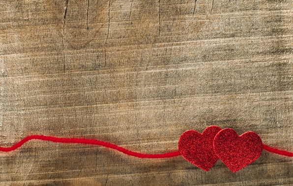 Picture background, tree, heart, hearts, red, thread