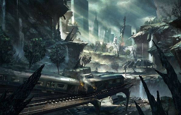 Picture the city, rails, train, cars, art, ruins, the crysis 2