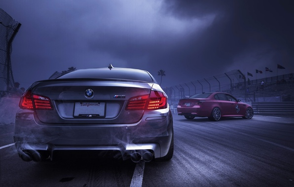 Picture the sky, red, clouds, smoke, silver, BMW, BMW, red, back, f10, e60, silvery, exhaust pipe