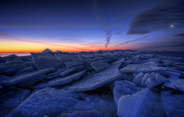 Picture ice, winter, the sky, clouds, sunset, orange, lake, the moon, the evening, ice, Sweden, blue
