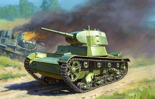 Picture easy, art, tank, WWII, Soviet, WW2, infantry, tank, based, created, T-26, English, htonic, Mk.E, A. …