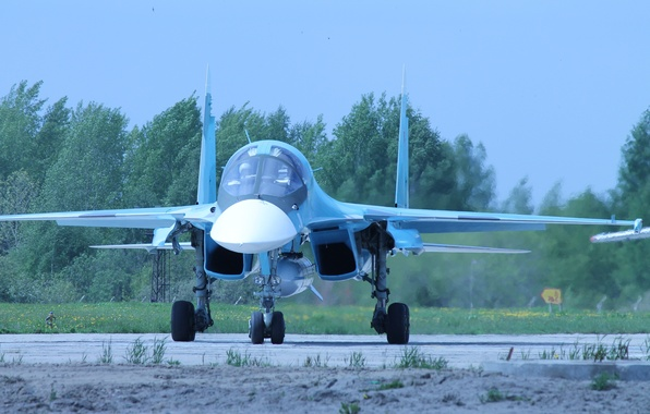 Picture fighter, bomber, the airfield, Russian, Su-34, multifunction, the front.