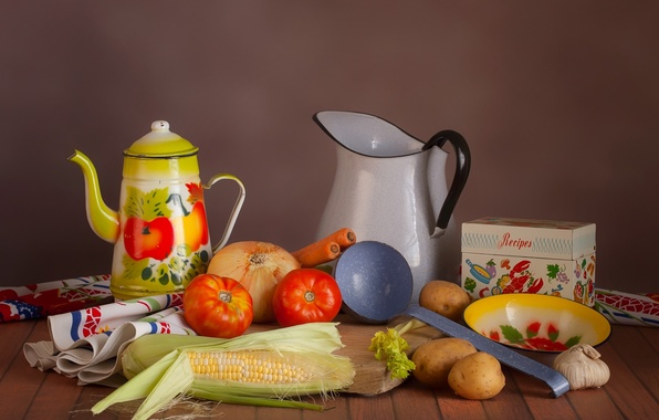 Picture corn, bow, dishes, still life, vegetables, tomato, potatoes