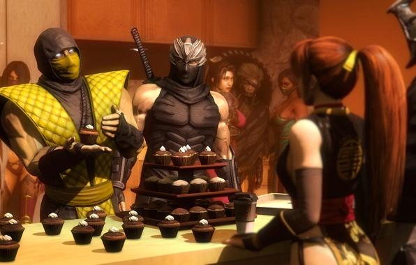 Picture Ninja Gaiden, dead or alive, scorpion, crossover, cupcake, mortal kombat, mileena, fan art, jade, Raiden, …