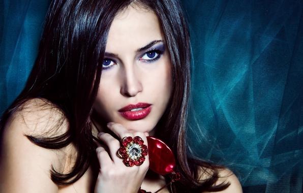 Picture flower, look, girl, model, hair, hand, makeup, ring, blue eyes