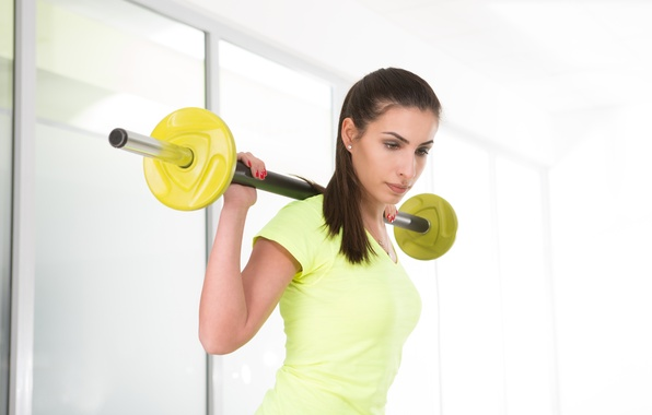 Picture yellow, look, workout, fitness, dumbbell