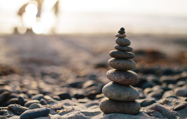 Photo wallpaper macro, balance, stones