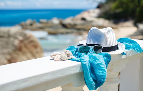 Picture summer, beach, sea, hat, sun, blue sky, glasses, vacation, shells, accessories