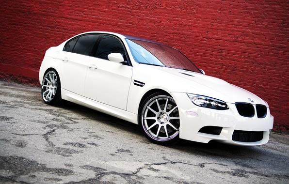 Picture BMW, White, BMW, white, Lights, tuning, sedan, E90