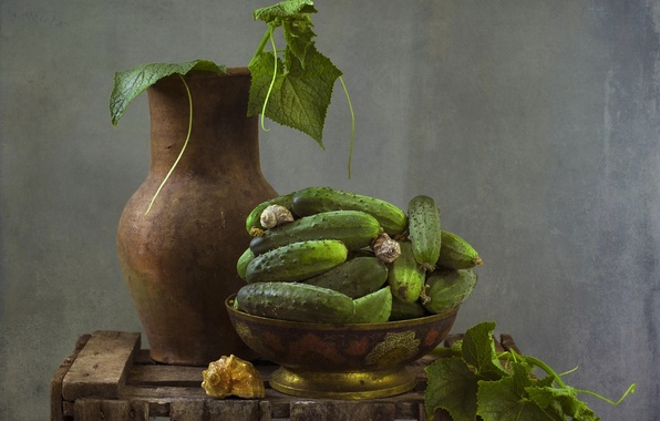 Picture texture, shell, pitcher, still life, cucumbers, vegetable