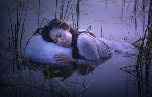Picture girl, lake, sleep