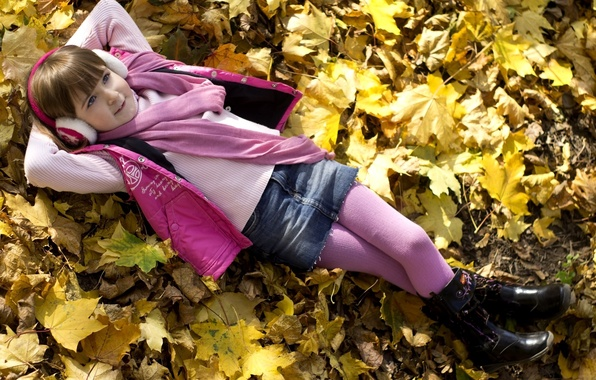 Picture autumn, leaves, nature, stay, child, headphones, scarf, girl, tights, child, pink color, sweetie