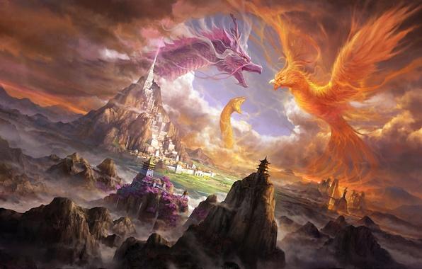 Picture mountains, the city, castle, rocks, fire, dragon, snake, art, creatures, snakes, battle, Phoenix