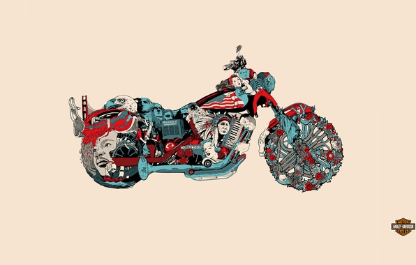 Picture background, motorcycle, bike, Harley Davidson, history