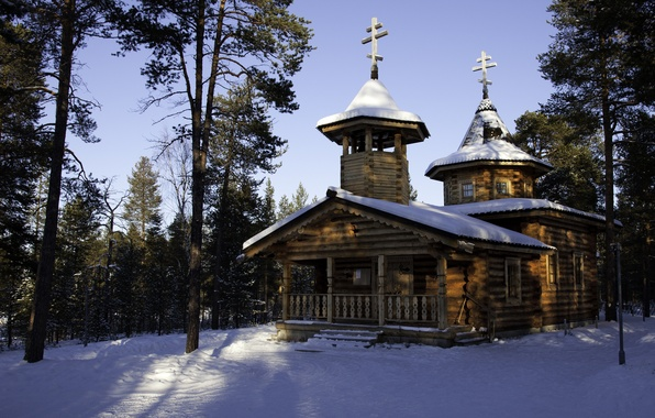 Picture winter, nature, photo, temple, Finland, Lapland, monastery. Cathedral