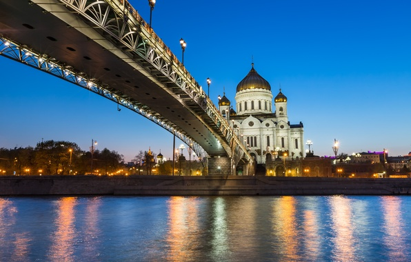 Picture bridge, river, Moscow, Cathedral, Russia, promenade, The Cathedral Of Christ The Savior, The Moscow river, …