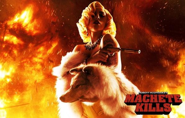 Picture gun, wolf, muffler, lady gaga, lady Gaga, machete kills, machete kills