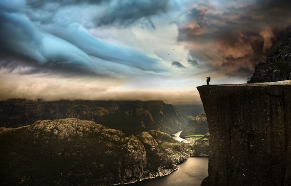 Picture the sky, landscape, mountains, clouds, rock, river, open, people, Norway, Preikestolen, photo by Robin Kamp