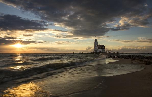Picture sea, beach, the sun, sunrise, lighthouse, morning, pierce, Spain, Costa Blanca