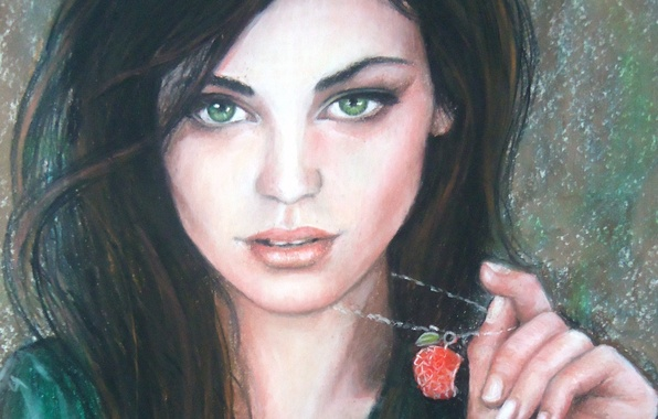 Picture look, girl, face, brunette, painting, green eyes, suspension