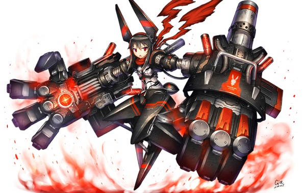 Picture look, girl, weapons, background, costume, gesture, art, gia