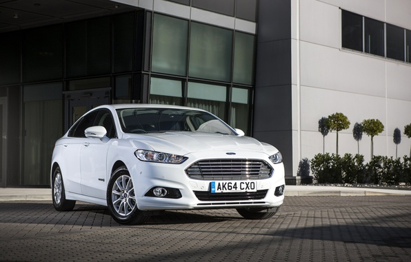 Picture photo, Ford, White, Tuning, Car, Hybrid, Front, Mondeo, 2015
