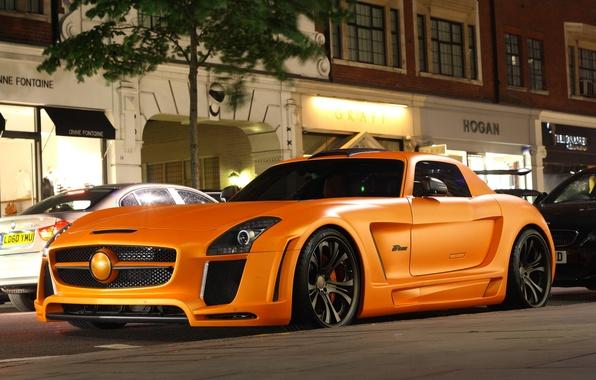 Picture Mercedes-Benz, Auto, Night, Tuning, Street, Machine, Design, SLS, FAB