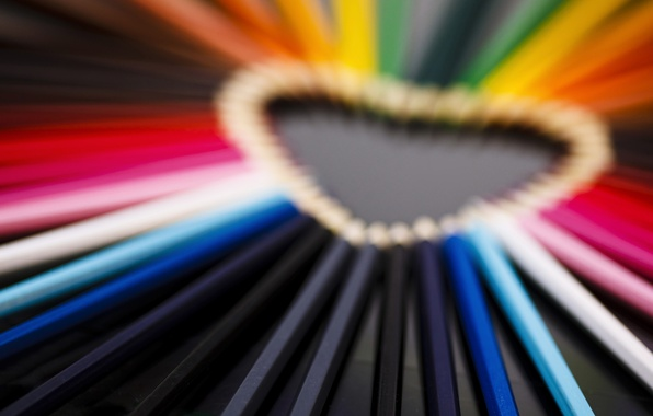 Picture macro, love, pink, mood, heart, colored, pencils, love, heart