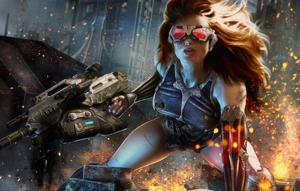 Picture girl, the city, weapons, art, glasses, sparks, machine, scar, crack, wounds, CRYSIS 4
