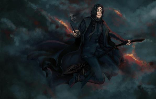 Wallpaper face, black background, Harry Potter, Severus Snape, HP 7