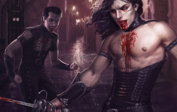 Picture the city, weapons, blood, art, lights, lane, guys, vampires