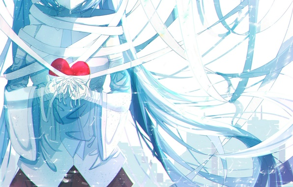 Picture girl, anime, tears, art, vocaloid, hatsune miku, heart, bandages, re:rin