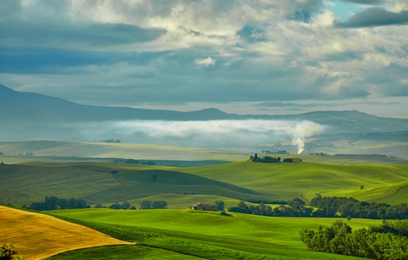 Picture greens, the sky, clouds, trees, smoke, field, plain, space, Italy, houses, meadows, Tuscany