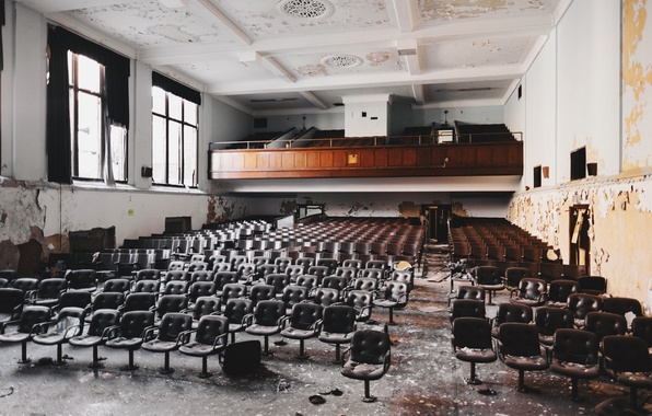 Picture Windows, chairs, abandoned, hall, Devastation, Assembly
