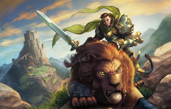 Picture mountains, stones, castle, predator, sword, Leo, warrior, art, male, rider, World of Warcraft