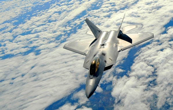 Picture The sky, Clouds, Flight, Fighter, Height, F-22, Raptor, Multipurpose