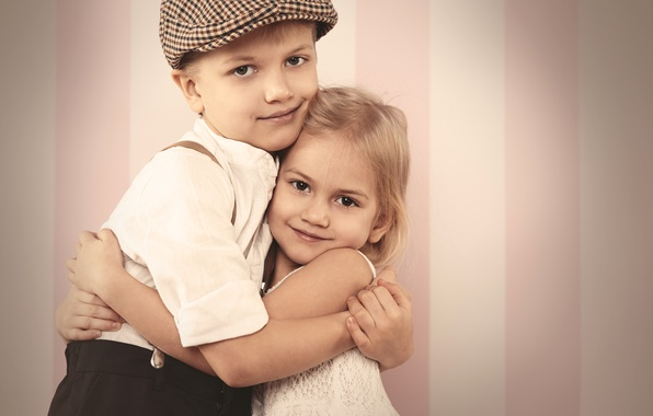 Picture love, retro, child, boy, hugs, girl, friends, friends, embrace, Boys, Little girls, hand