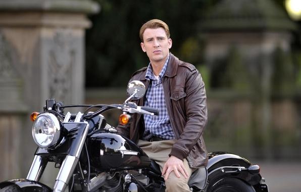 Picture look, background, motorcycle, male, actor, Captain America, Captain America, Harley-Davidson, Chris Evans, Chris Evans, Steve …