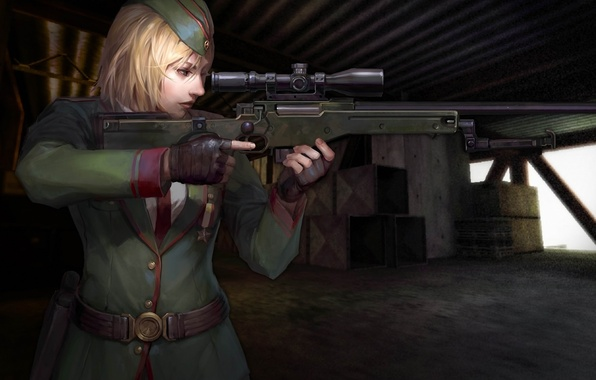 Picture girl, medal, form, sight, rifle, online, Counter Strike, awp