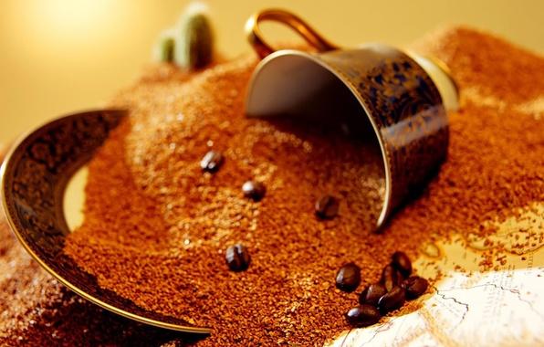 Picture macro, coffee, grain, Cup, brown, macro, cup, coffee, grains