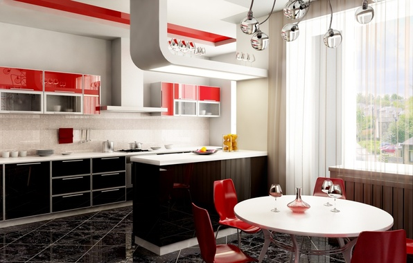 Picture design, style, table, red, chairs, glasses, window, kitchen, chandelier