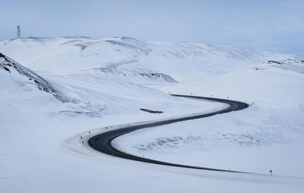 Picture winter, road, snow, landscape, mountains
