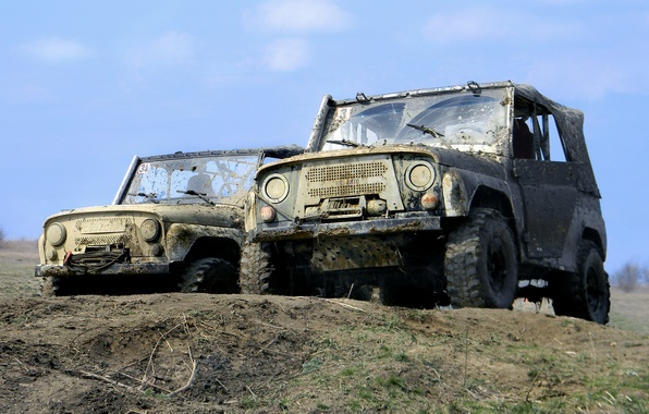 Picture the sky, nature, dirt, the roads, offroad, uaz, UAZ