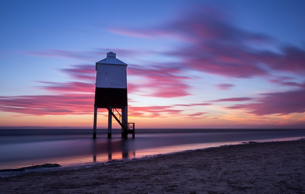 Picture sand, sea, the sky, clouds, sunset, shore, lighthouse, England, the evening, UK, calm