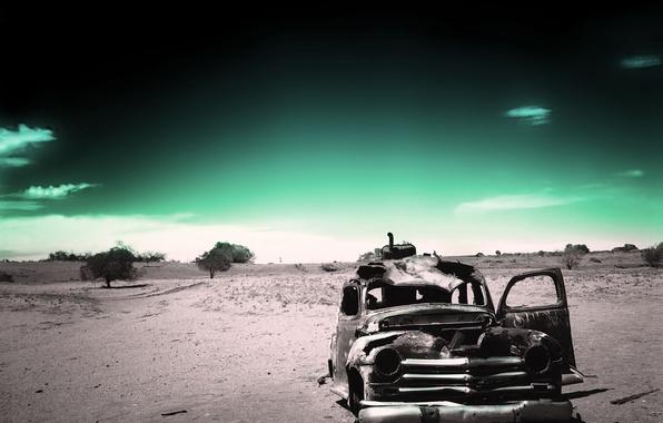 Photo wallpaper green, black and white, old age, past, desert, ago, fatigue, machine, rusty, Saitoti, time, loneliness
